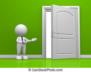 Door - 3d door in the green wall. 3d render