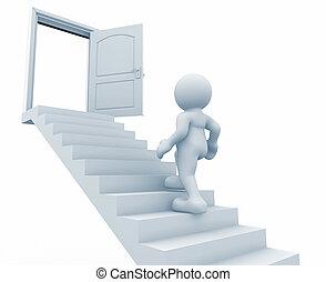 Door - 3d person climbing the stairs to the open door - this...
