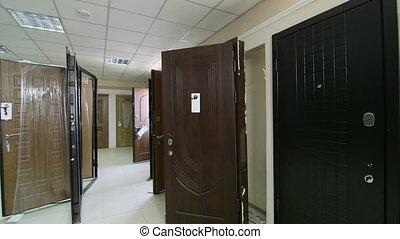Door store showroom - internal and external doors, pan shot