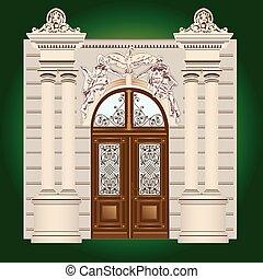 Door  - The door of the building with wrought ornaments