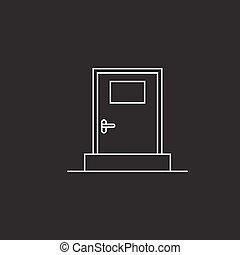 door thin line icon, outline vector logo illustration, linear pi