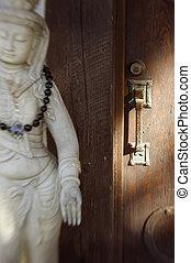 Door to Enlightenmnet - Rustic Asian style door with buddhis...