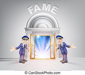 Door to Fame and Doormen - Fame concept of a doormen hoding...
