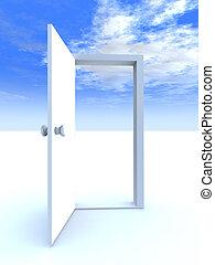 Door to Freedom - Abstract Metaphor for Freedom. 3D rendered...