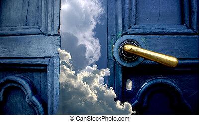 Door to heaven - Open old blue door to sky with clouds maby...