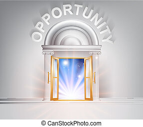 Opportunity door concept of a fantastic white marble door with columns with light streaming through it.