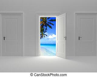 Door to paradise, beautiful island view behind an open door...