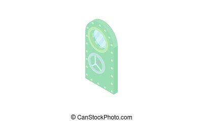Door to safe animation of cartoon icon on white background