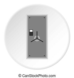 Door to safe icon, flat style