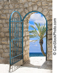 Door to seashore