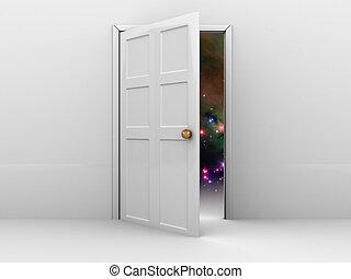 door to space - 3d illustration of opened door with space...