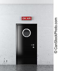 door to studio - door to audio tudio. 3d render