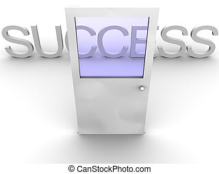 3d rendered image of a door leading to success.