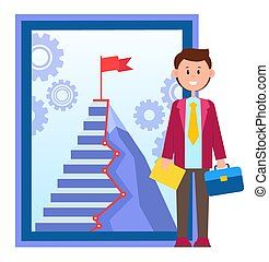 Door to Success, Office Worker near Career Ladder