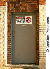 keep out - door to switch room, keep out sign, brick wall