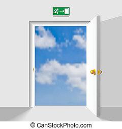 Door to the sky - Opened doorway leading to the heaven. ...
