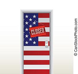 door to the us closed. illustration design