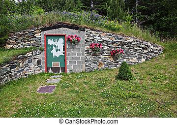 Door to undergroud bunker - underground bunker made from...