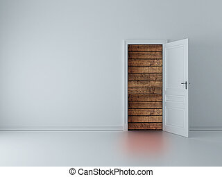 door to wood wall - white room with opened door to wood wall