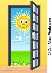 Door toward nature. Vector Illustration