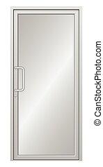 Door - Illustration of aluminium door on white background.