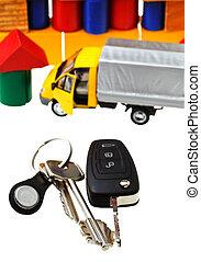 door, vehicle keys, truck model and block house
