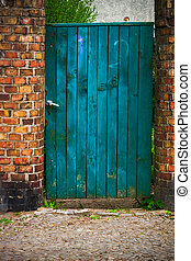 door wicket gate wooden old wall brick red - Old door wicket...