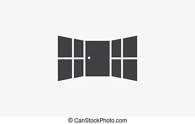 door window icon isolated on white background.