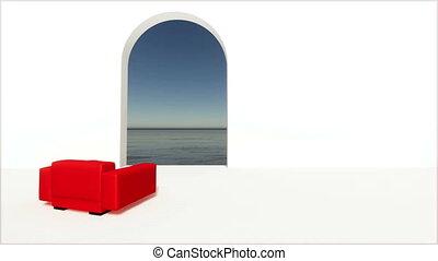 Door window red armchair sea Living room interior 4