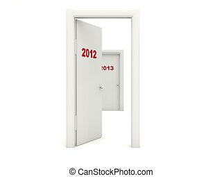 Door with 2012 New Year sign isolated on white