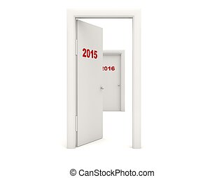 Door with 2015 New Year sign