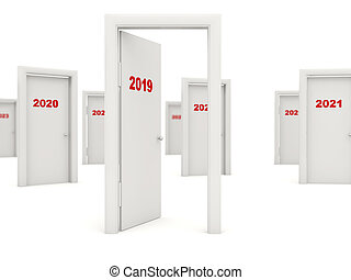 Door with 2019 New Year sign isolated on white