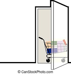 Door with a shopping cart