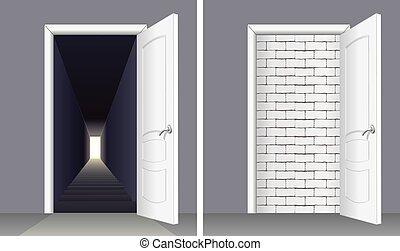Door with Brick wall and Door to Basement