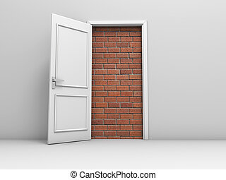 Door with bricks