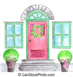 Door with christmas wreath - Frontdoor with Christmas...