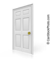 Door with Dollar Sign Doorknob