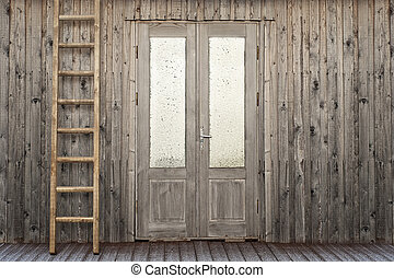 door with frosty window of plank house