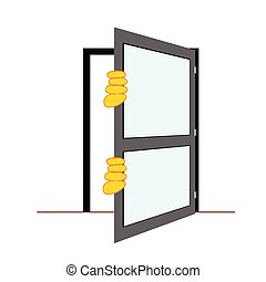 door with hands vector illustration