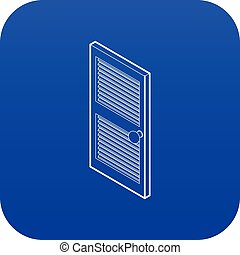Door with horizontal vent icon blue vector isolated on white...