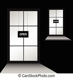 door with open close illustration