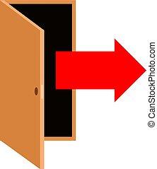 door with pointing arrow