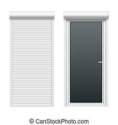Door with rolling shutters