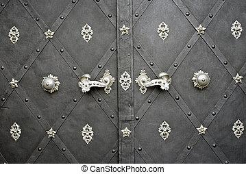 Door with Rusty Floral Metal