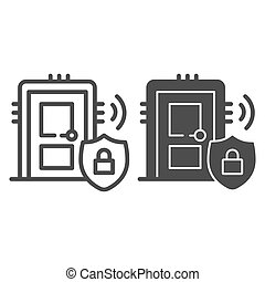 Door with secure lock on emblem line and solid icon, smart home symbol, house safe technology vector sign on white background, thief door protection icon in outline style. Vector graphics.