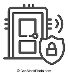 Door with secure lock on emblem line icon, smart home symbol, house safe technology vector sign on white background, thief door protection icon in outline style. Vector graphics.