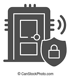 Door with secure lock on emblem solid icon, smart home symbol, house safe technology vector sign on white background, thief door protection icon in glyph style. Vector graphics.
