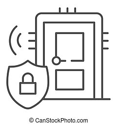 Door with secure lock on emblem thin line icon, smart home symbol, house safe technology vector sign on white background, thief door protection icon in outline style. Vector graphics.