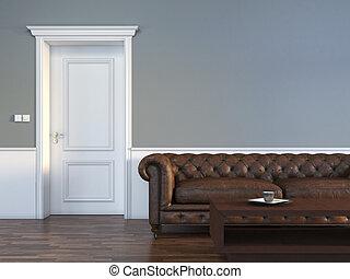 Door with sofa in empty room interior scene