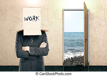 Door with view and businessman with box